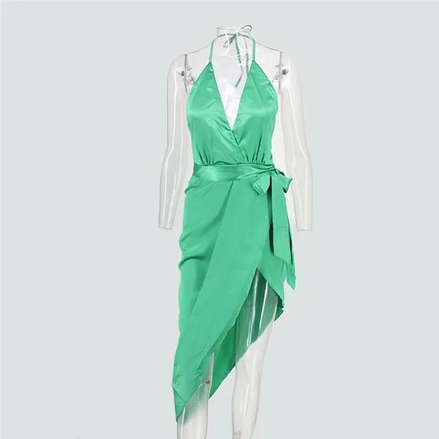 Feditch 2019 Sexy Split Dress Women Backless 3 Solid Color V-Neck Strap Party Clubwear Elegant Women Irregular Dresses