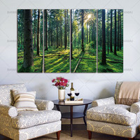 Painting Canvas Print Green Tree Woods Modern Wall Art Home 4 Panel Forest and Sunrise Sunlight Oil Decoration Home Decor