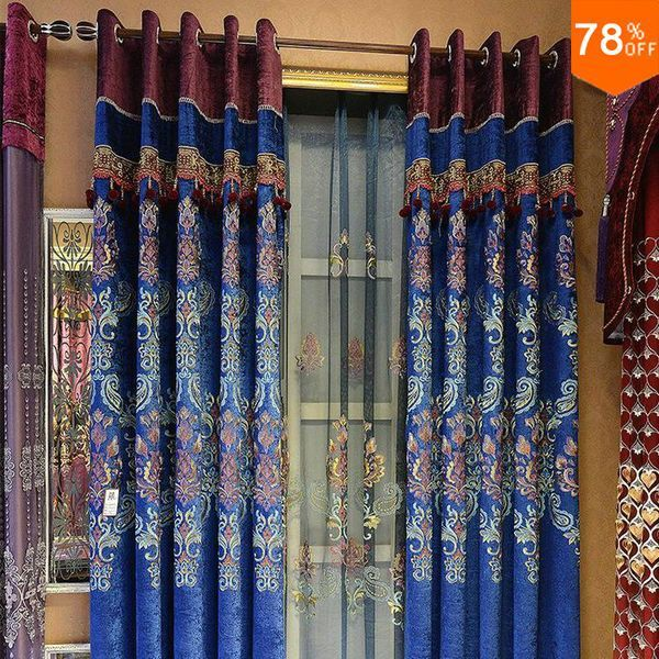 Lace Free shipping royalblue emboss cortinas Luxury Europe Curtain finished curtain with tulle sheet Beads curtains royal blue