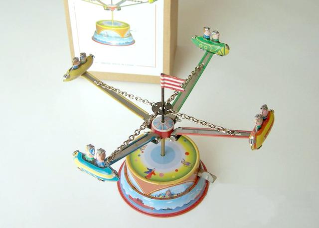 Classic retro estaño Clockwork juguetes Rare Colección Clockwork estaño aviones Rotativos del Parque de Atracciones