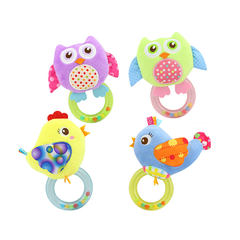 2018 New Hot Sale Baby Plush Bird And Owl Rattles Handbell Ring Toys Bird.0-3 Y Baby Rattle Hand Bell Toy 5 Style Animals Gift