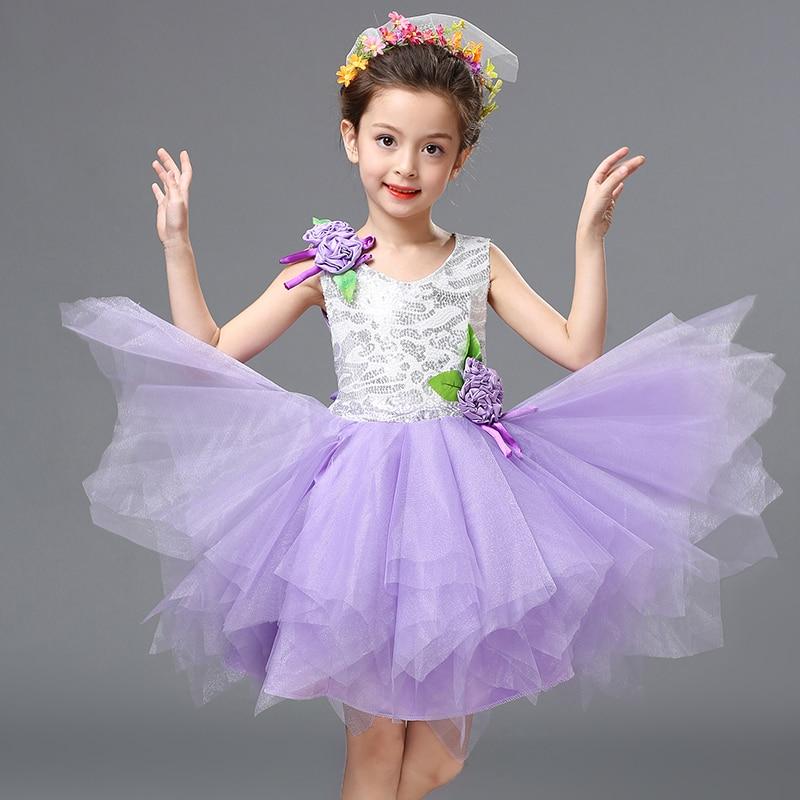 Girl Tutu Ballet Dress Dance Princess Dress Performance Clothing Flowers Print Shiny Ballroom Practice Girl Yarn Skirt Wholesale