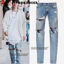 kanye west denim jumpsuit designer clothes rockstar justin bieber ankle zipper destroyed skinny ripped jeans for men fear  TB003