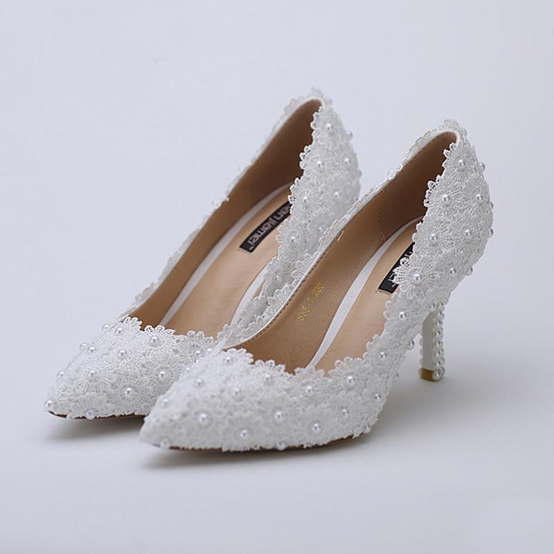 Сән Sexy White Lace Flower ақ қылқалам ілмекпен - Әйелдер аяқ-киімі - фото 6