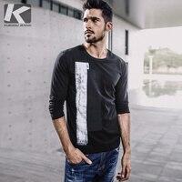 KUEGOU New Autumn Mens Fashion T Shirts Patchwork Print Black Brand Clothing Man S Long Sleeve