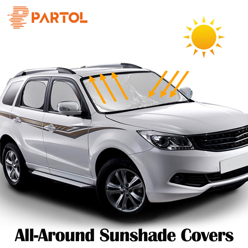 Partol Universal Silver Color Coating Protective Auto Sun Shade Cover Car Windshield Visor Window Sunlight UV Protect Reflector