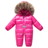 Winter Infant Snowsuit Baby Snow Coveralls Newborn Snow Wear Down Suit Kid Fur Hooded Parka Duck