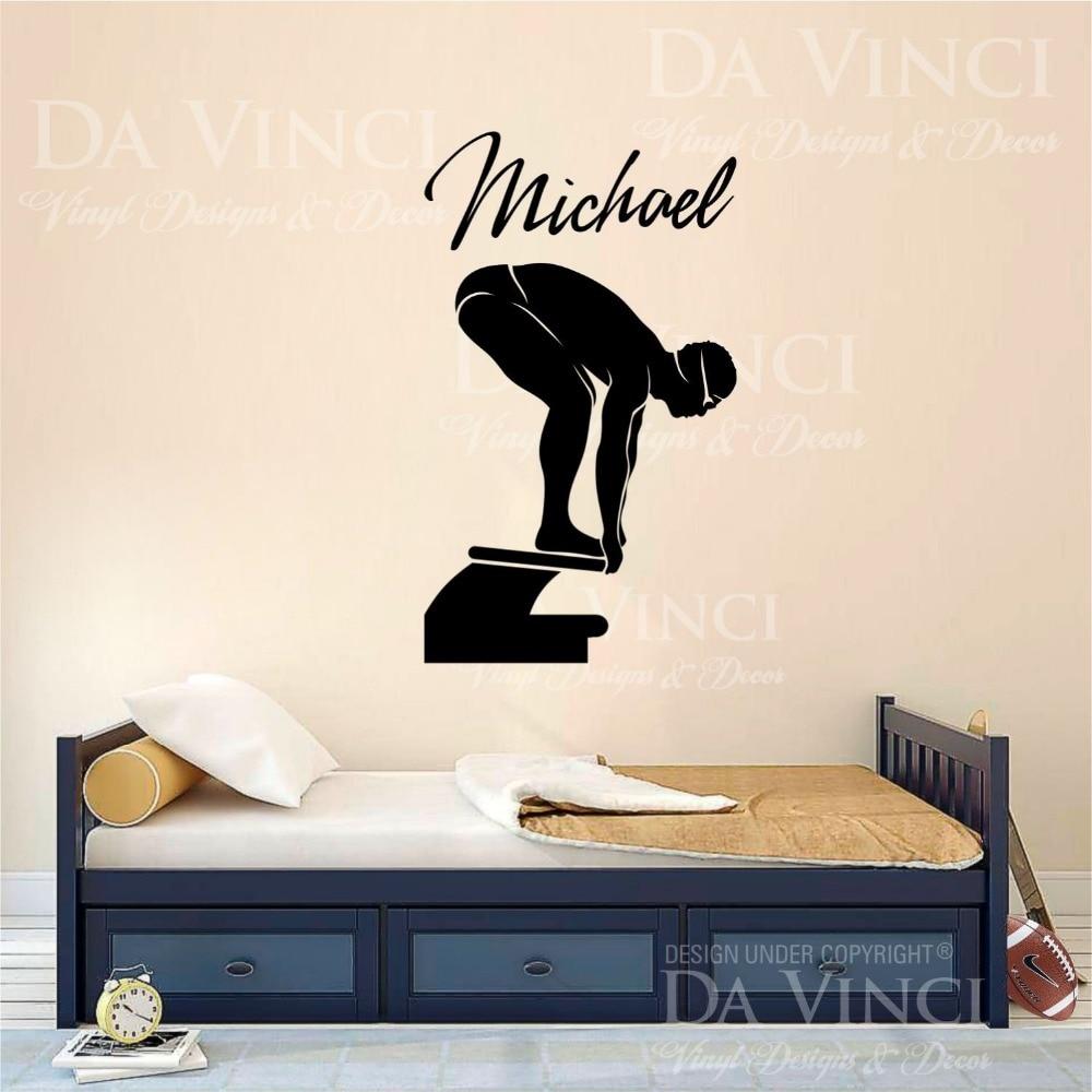 Personalized Bedroom Wall Decor : Aliexpress buy swim vinyl wall decal swimming
