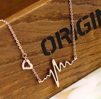 GP Pink rose Gold color Wholesale Jewelry ECG pendant necklace heartbeat necklace stainless steel Free Shipping