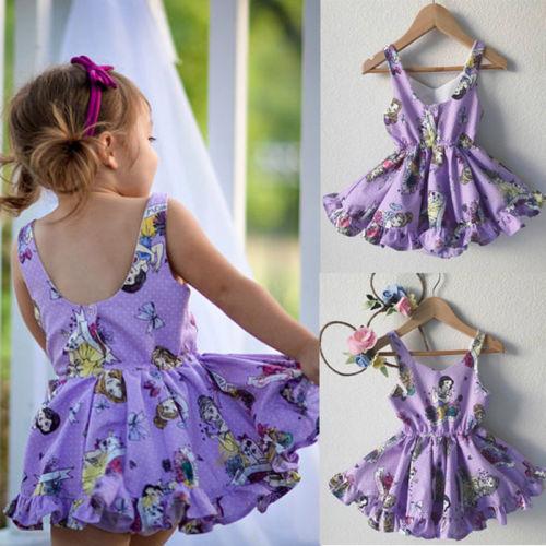 2018 Toddler Baby Kids Girl Cotton Cartoon Princess Sleeveless Dress Clothes Summer Purple Dress ems dhl free shipping toddler little girl s 2017 princess ruffles layers sleeveless lace dress summer style suspender
