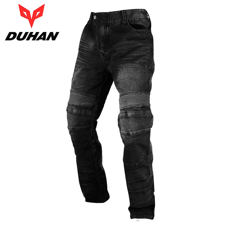 ФОТО DUHAN Men's Motocross Off-Road Racing Jeans Motorcycle Riding Trousers  Automobile Race Pants Pants with Knee Protector Guards