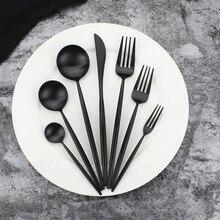 KuBac Hommi 7-Pieces Luxury Black Cutlery Set Dinnerware Tableware Matte Silverware Dinner Fork Knife Drop Shipping