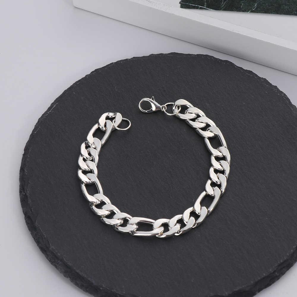 1 sztuk Trendy na rękę Chunky męska bransoletki złoty kolor ręcznie łańcuch Curb Link biżuteria dla mężczyzn prezent Pulseiras masculinas