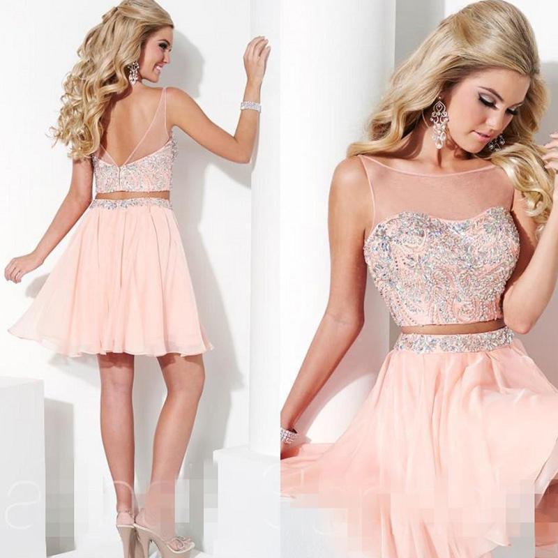 bf91a12ee Dos piezas de los vestidos de noche vestido de noche corto 2016 vestidos  robe de soirée gasa rosada de noche formal crystal vestido de festa en  Vestidos de ...