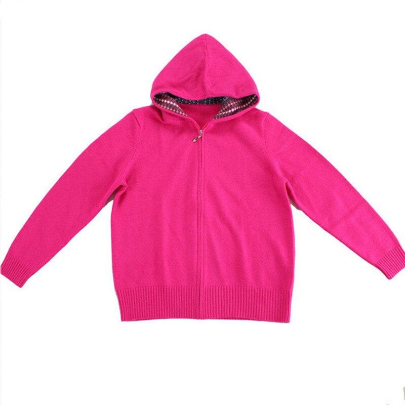 100% козья кашемир с капюшоном толстой вязки Женская мода, молнии свитер серый 3 вида цветов S 2XL