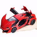 Fast Furious 7 Car Toys 1:32 Scale Alloy Lykan Hypersport Diecast Model Cars Back Power With Light&Sound Red Color for Kids