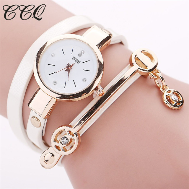 CCQ Hot Women Long Leather Bracelet Watches Gold Fashion Quartz Watch Casual Wrist Watch Relojes Mujer Relogio Feminino 1657 3