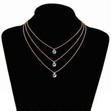 Poputton Gold Color Layered Necklace Jewelery Multilayer Chokers Necklaces for Women 2018 Jewelry 3 Multi Layer Chain Necklace