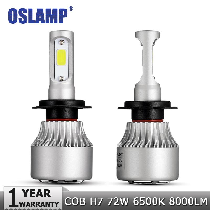 Prix pour Oslamp H7 COB LED De Voiture Phares Ampoule Kit 72 W 8000lm Auto avant Lumière H7 Brouillard Ampoules 6500 K 12 V 24 V Led Automobile projecteurs