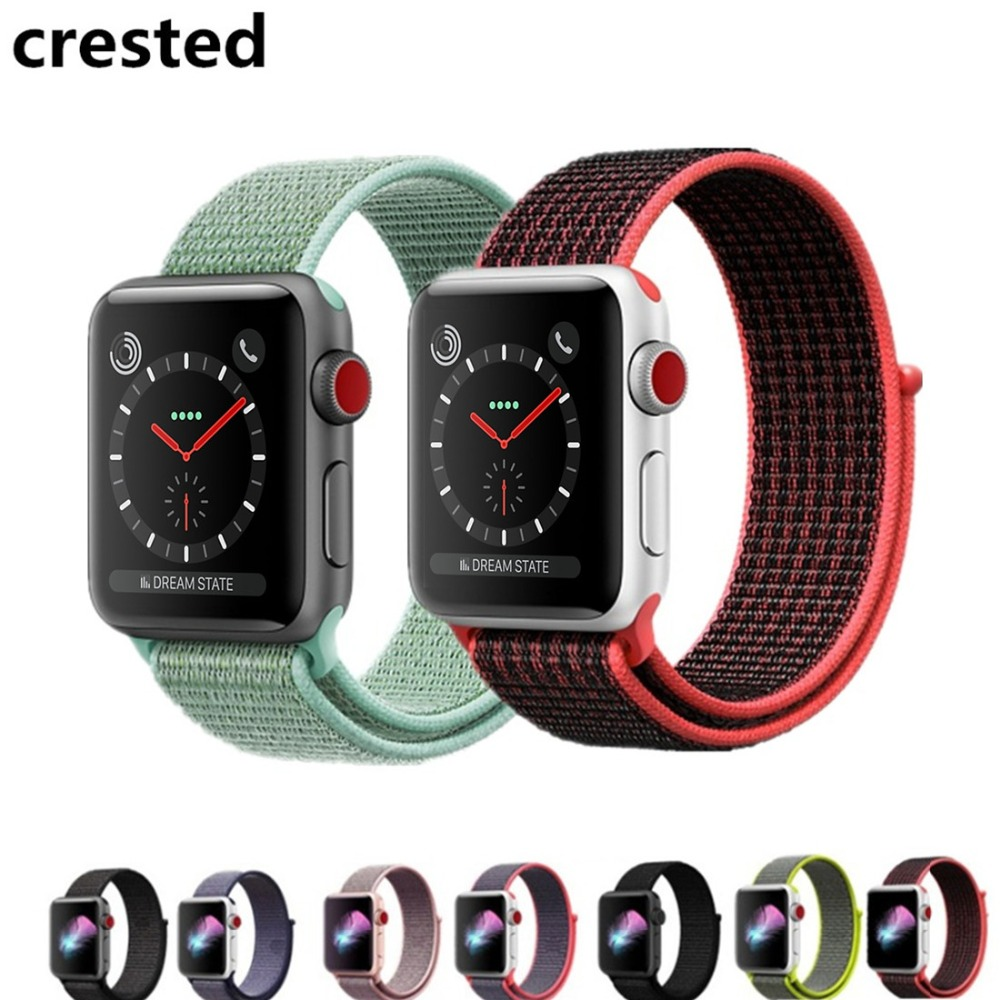 CRESTED Sport Loop For Apple Watch band strap 42mm 38mm Woven Nylon iwatch 3/2/1 wristband bracelet Lightweight Breathable belt