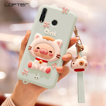 LOFTER 3D Cute Cartoon Silicone Phone Case For Huawei Nova 4 With Strap Pendant Back Cover Soft Shell Shockproof Girls