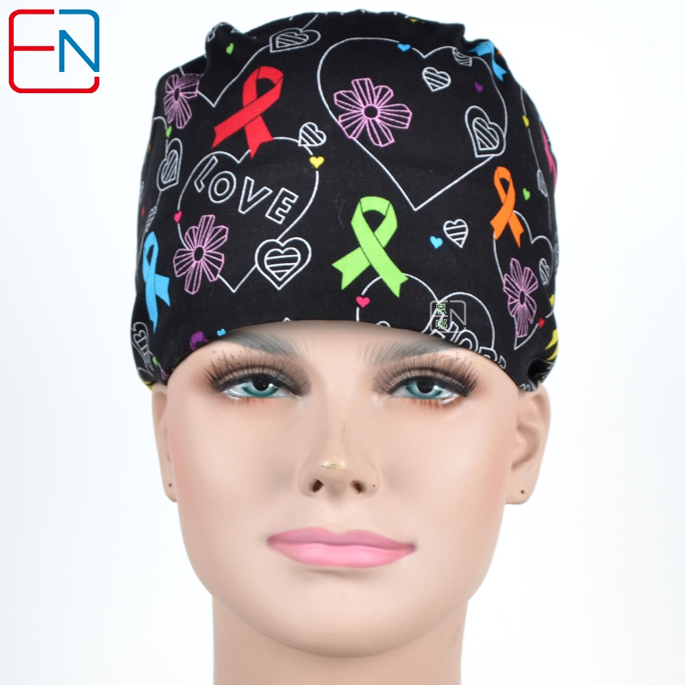New Cotton Scrub Caps Mask WOMEN Hospital Medical Hats Cartoon Print Tieback Adjustable Cotton WOMEN Surgical Caps Masks