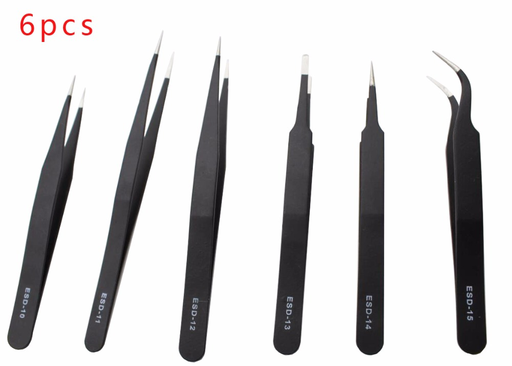 6Pcs Electronics Tweezers Forceps Anti-static ESD Tweezers Set Straight Curved Electronic Craft Repairing Maintenance Tools