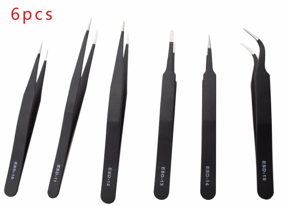 6Pcs Electronics Tweezers Forceps Anti-static ESD Tweezers Set Straight Curved Electronic Craft Repairing Maintenance Tools