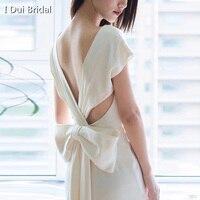 Simple Wedding Dress Casual Wear Boho Style V Neck Bow Tie Back Spandex Satin Short Sleeve New