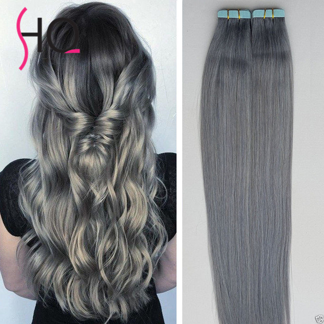 Grey Hair Extensions Tape In Hair Extensions Gray 100gset Seamless