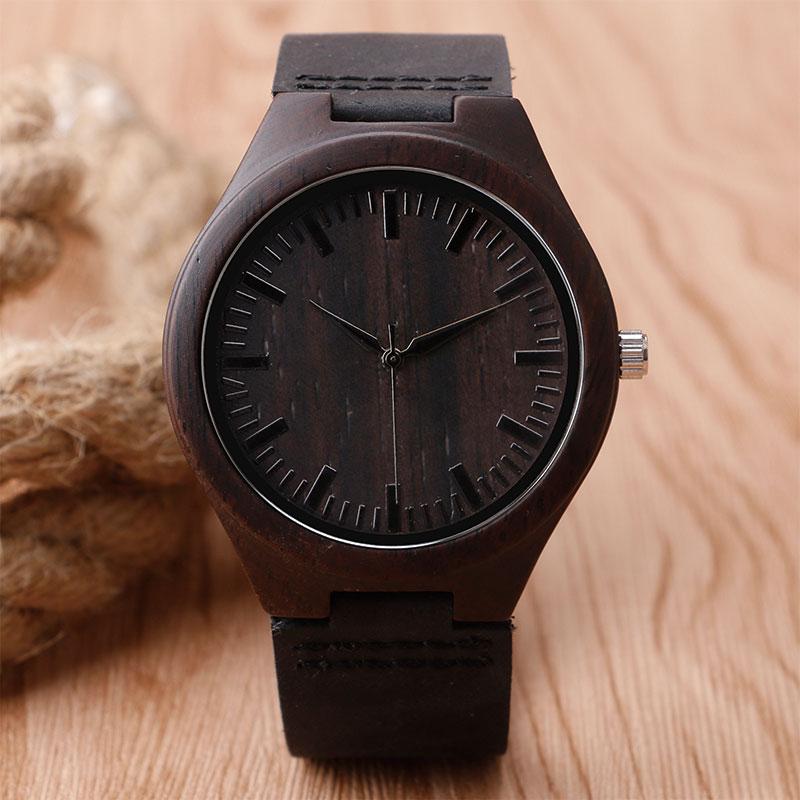 Prix pour Nature En Bois Montre 2017 Minimaliste Horloge Bambou Véritable De Mode En Cuir Hommes Femmes Creative Cool Mâle Cadeau Femme Livraison Gratuite