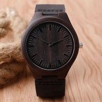 Nature Wooden Watch 2016 Minimalist Clock Bamboo Genuine Leather Fashion Men Women Creative Cool Xmas Gift