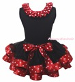 Birthday 1ST 2ND 3RD Thing 1st 2nd 3rd My First Christmas Shirt Red White Dots Ribbon Black Petal Skirt Nb-8y