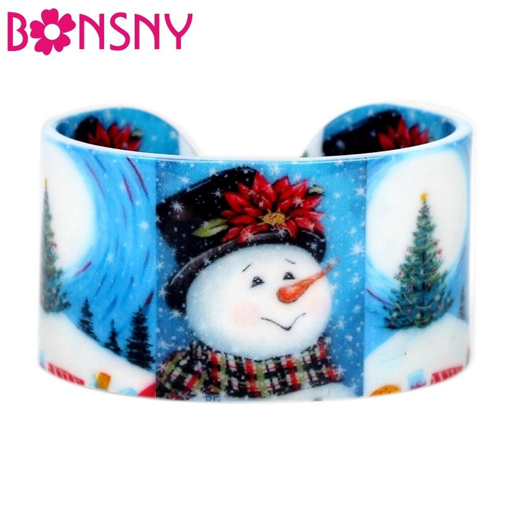 Bonsny Acrylic Christmas Happy Snowman Tree Bangles Bracelets Cartoon Craft Jewelry Year Gift Accessories
