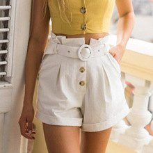 Ruffle High Waist Pockets Women Cotton Shorts Solid White Button Female Shorts Belt Tie Casual Summer 2019 Shorts