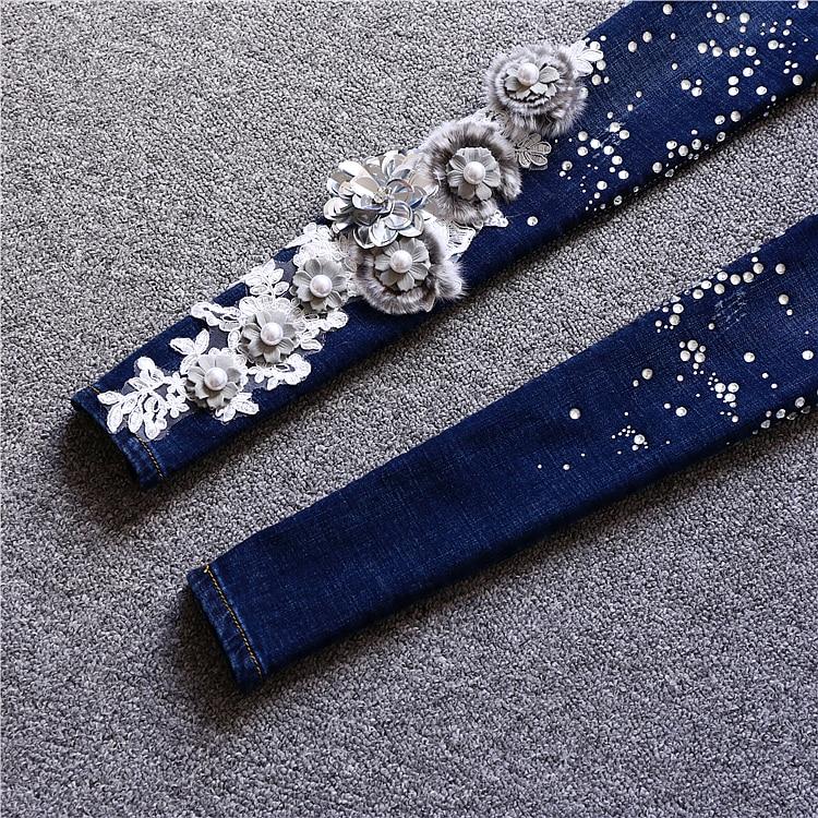Diamants Pantalon Mode Taille Paillettes 2018 Femmes Nouveautés Crayon Floral Denim Plus qqOrFg