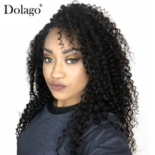 Kinky Curly 13×6 Lace Front Human Hair Wigs For Women 150% Density Pre Plucked With Baby Hair Deep Part Dolago Black Remy