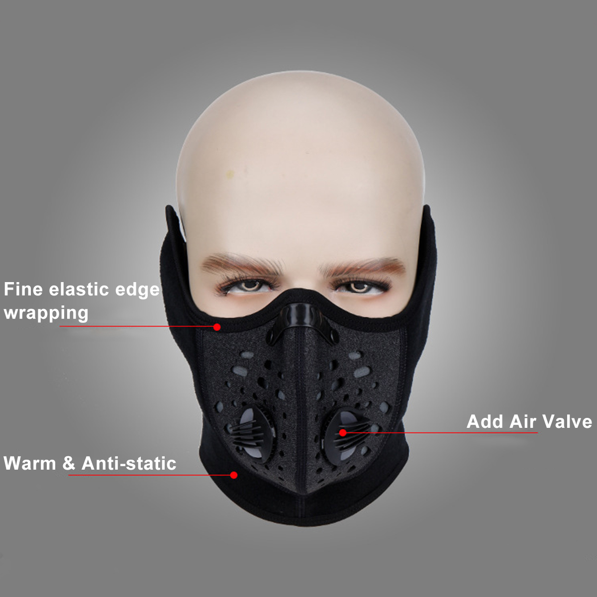PM2.5 Black Gym Workout Fitness Mask Cardio Running Respirator Mask Dust Proof With Filtered Activated Carbon Biking Half Face