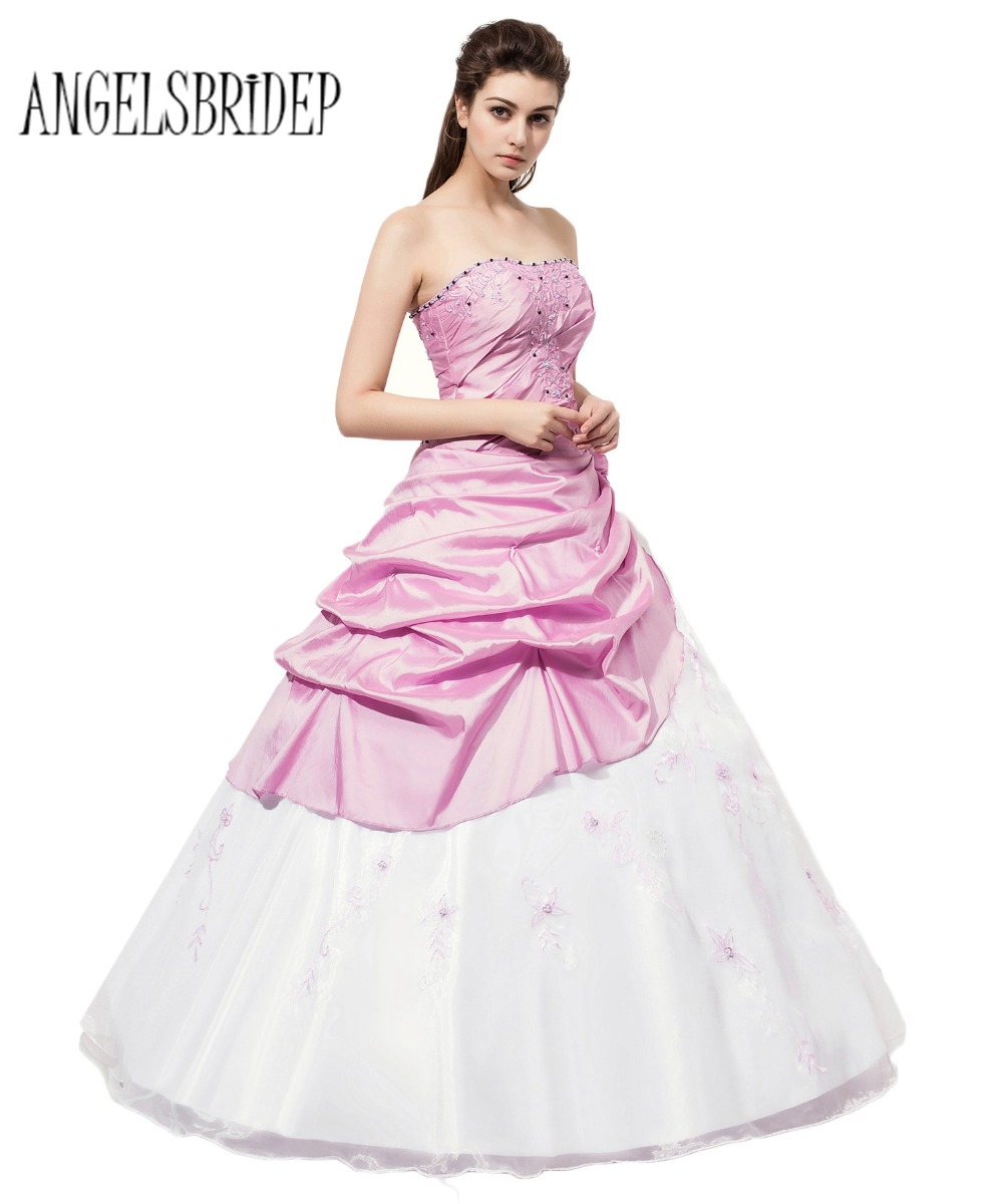 ANGELSBRIDEP Long Strapless Quinceanera Dresses White And Lilac Ball ...
