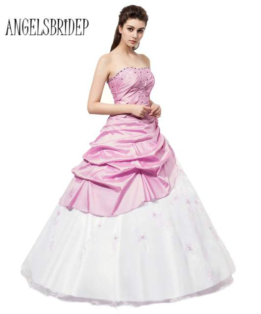 33394b72d786a ANGELSBRIDEP Long Strapless Quinceanera Dresses White And Lilac Ball Gown  Cheap Debutante Prom Gowns Vestidos de 15 anos