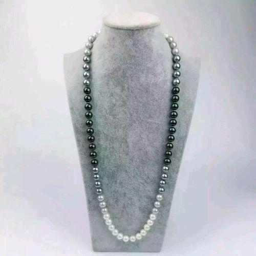 9-10mm natural south seas black white gray pearl necklace 25 inch 14k YellowGold9-10mm natural south seas black white gray pearl necklace 25 inch 14k YellowGold