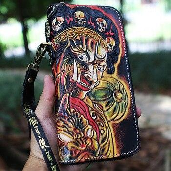 Handmade Women Beijing Opera Facial Masks Card Holder Wallets Purses Men Clutch Vegetable Tanned Leather Long Wallet