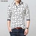 Camisa рубашки поло мужчин отказаться воротник контрастного цвета полный длинным рукавом хлопка случайные тонкий и fit высокое качество бренда-одежда