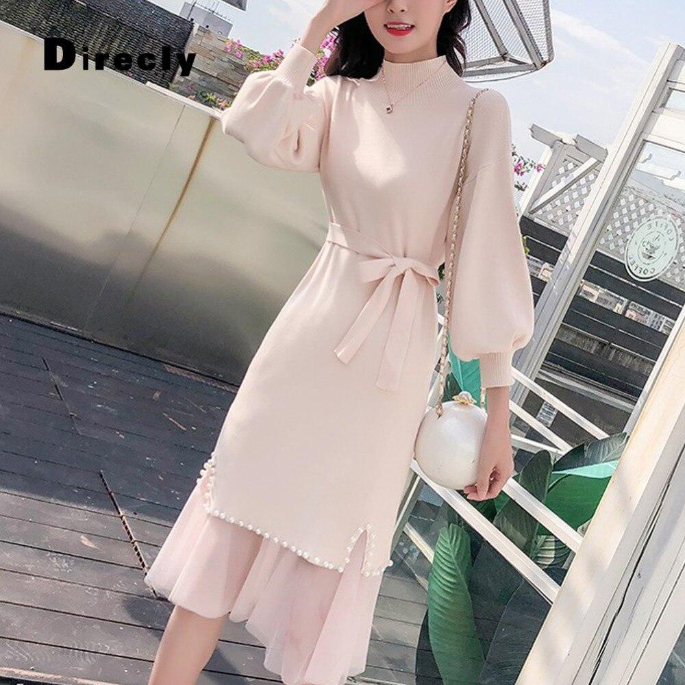 Direcly2018 herbst und winter neue frauen ins mode pullover kleid Hong Kong stil perle net zwei stück stricken kleid weibliche-in Kleider aus Damenbekleidung bei  Gruppe 3