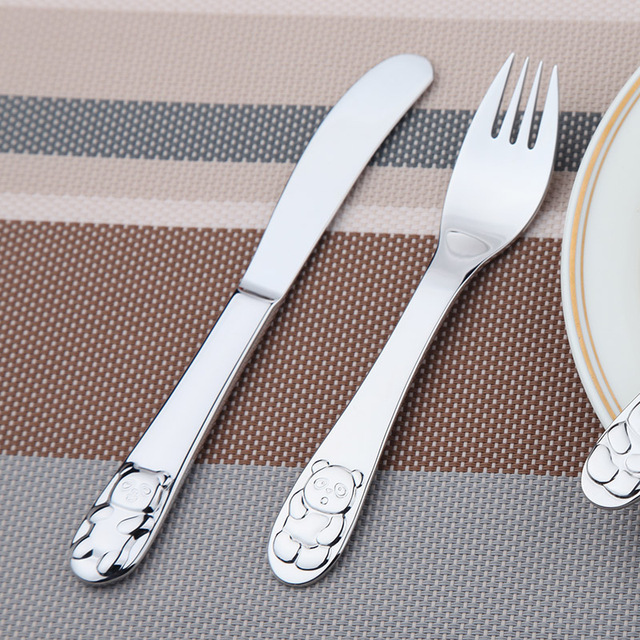 Quality Silver Cutlery Set Cute Animal Panda Children Flatware Table Knife Fork Spoon Food Stainless Steel Dinner Set 4 Pcs Set
