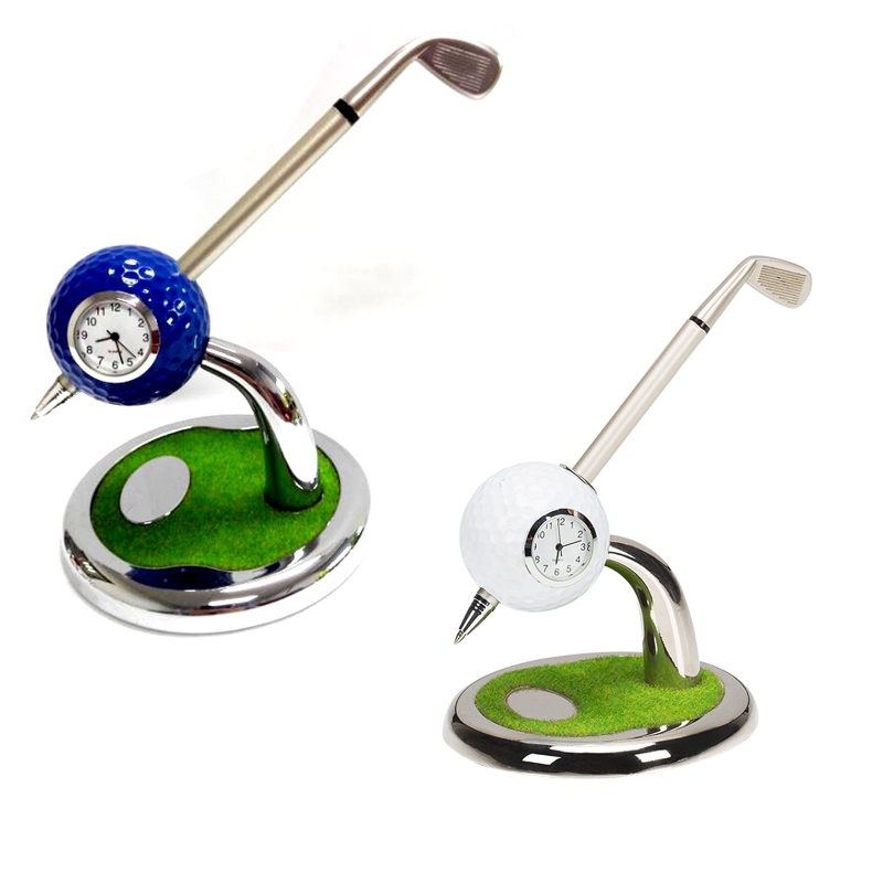 Golf Club Style Pen Holder/Ball Pen Stand With Clock,Desktop Golf Ball Clock Holder With Ballpoint Pen Gifts Set