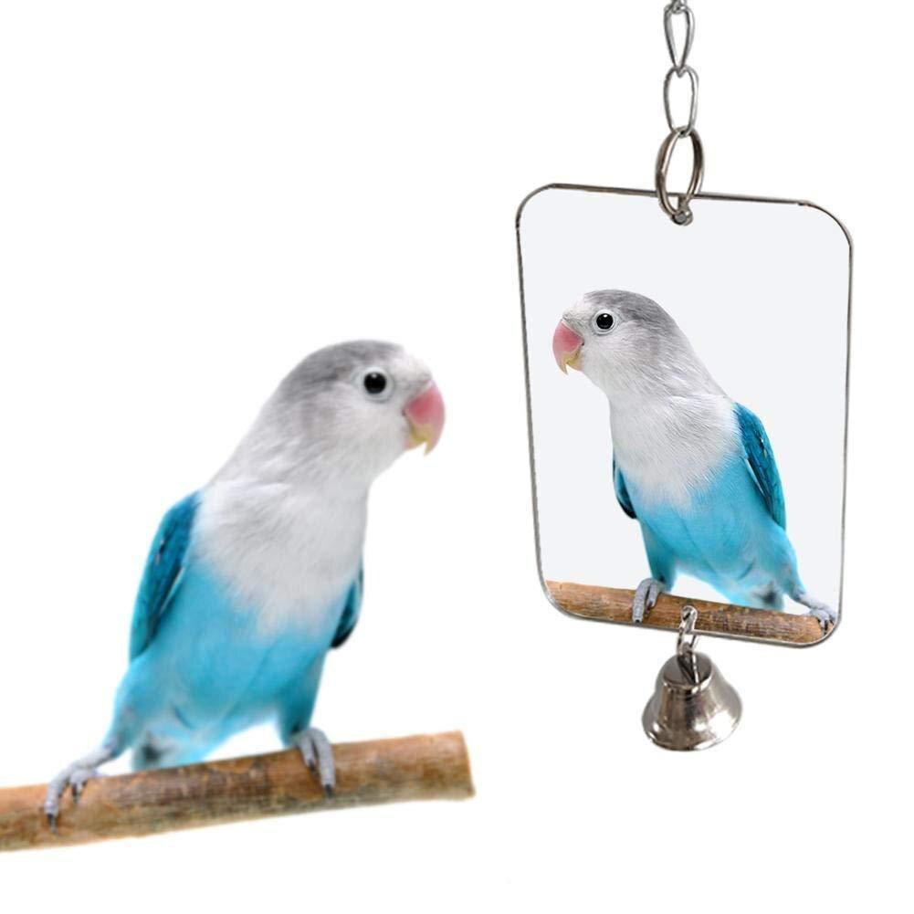 1Pc Espelho Pendurado Sino Play Toy Decoração Gaiola de Pássaro Do Papagaio Periquito Pet Fornecimentos