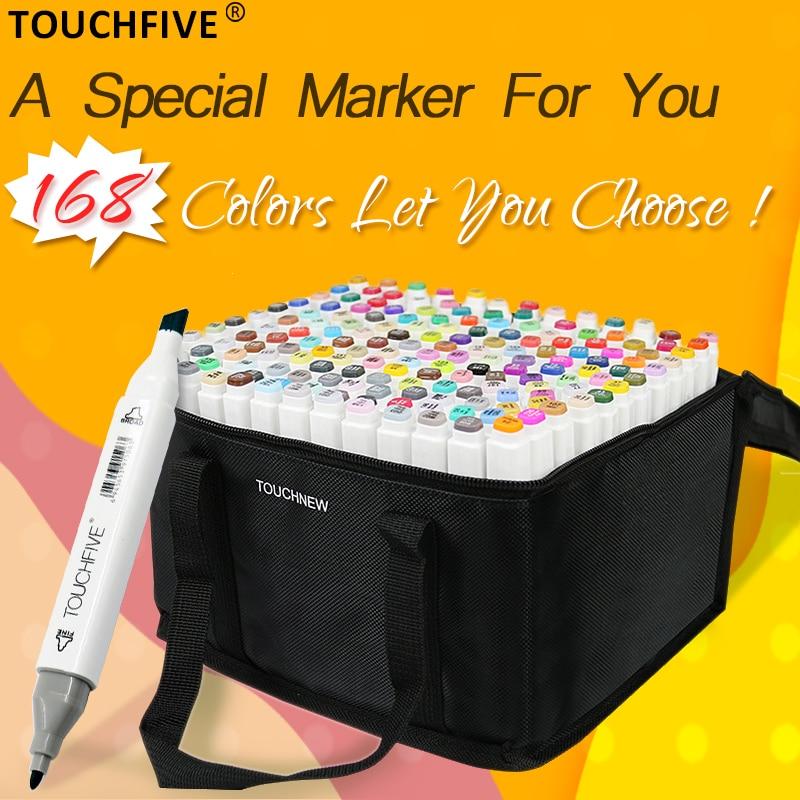TOUCHFIVE 168 Colori Set Pennarelli Artistici Penna Per Il Disegno A Base di Alcool Marcatori Dual Head Manga Disegno Penne Rifornimenti di Arte