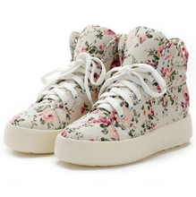 2016 spring new high-top heavy-bottomed girls floral canvas shoes Korean wave of casual shoes student