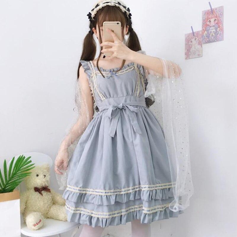 Japanese Summer Mori Girl Sweet Princess Dress Women Cute Bow Tie High Waist Sleeveless Ruffled Female Lolita Cosplay Dress K118